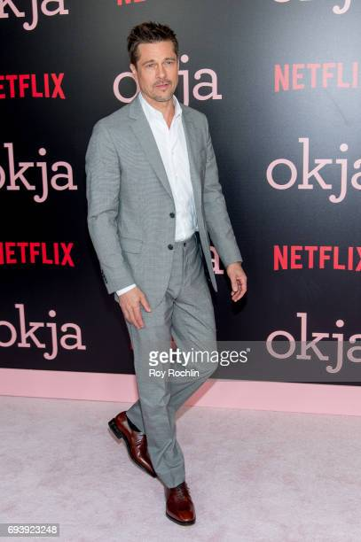 Brad Pitt attends the New York premiere of 'Okja' at AMC Lincoln Square Theater on June 8 2017 in New York City