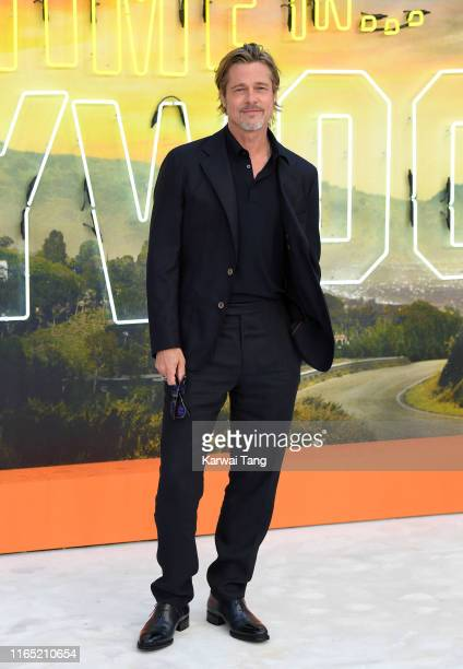 """Brad Pitt attends the """"Once Upon a Time... In Hollywood"""" UK Premiere at Odeon Luxe Leicester Square on July 30, 2019 in London, England."""