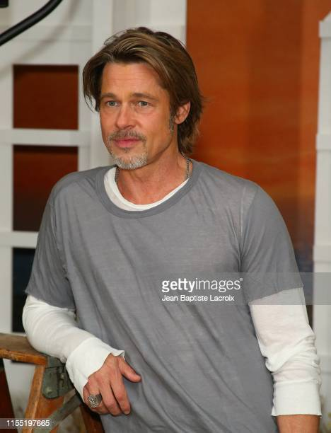 "Brad Pitt attends the photo call for Columbia Pictures' ""Once Upon A Time In Hollywood"" at Four Seasons Hotel Los Angeles at Beverly Hills on July..."