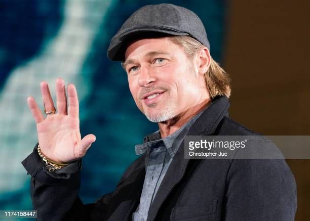Brad Pitt attends the press conference for the Japanese premiere of 'Ad Astra' at National Museum of Emerging Science and Innovation Miraikan on...