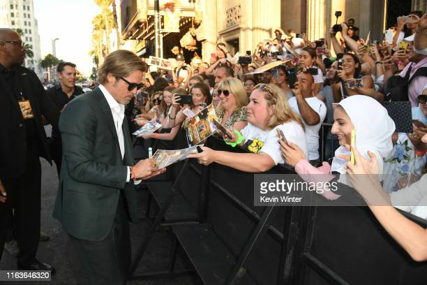"""Brad Pitt attends the Sony Pictures' """"Once Upon A Time...In Hollywood"""" Los Angeles Premiere on July 22, 2019 in Hollywood, California."""