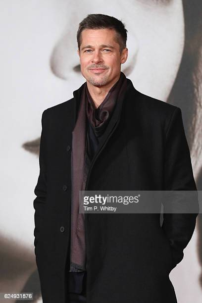 "Brad Pitt attends the UK Premiere of ""Allied"" at Odeon Leicester Square on November 21, 2016 in London, England."