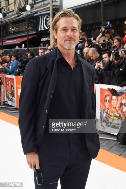 Brad Pitt attends the UK Premiere of Once Upon a TimeIn Hollywood at the Odeon Luxe Leicester Square on July 30 2019 in London England