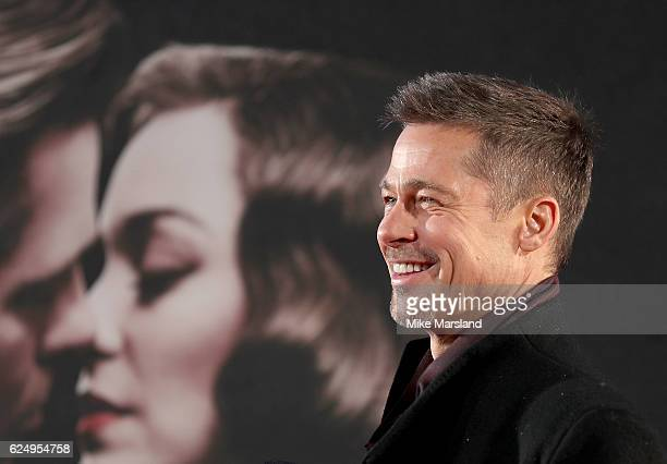 "Brad Pitt attends the UK Premiere of the Paramount Pictures Film ""Allied"" Odeon Leicester Square on November 21, 2016 in London, England."