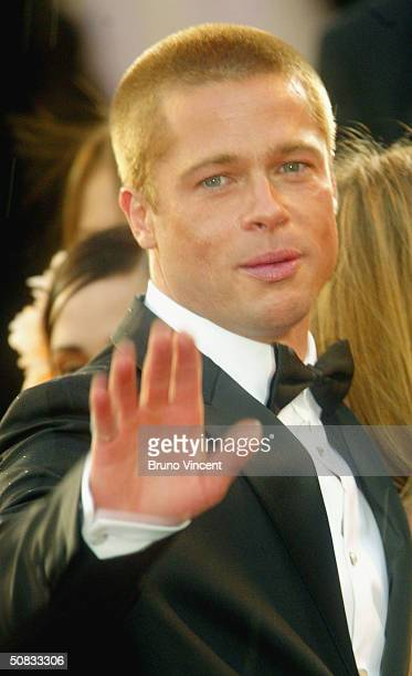 Brad Pitt attends the World Premiere of epic movie Troy at Le Palais de Festival on May 13 2004 in Cannes France