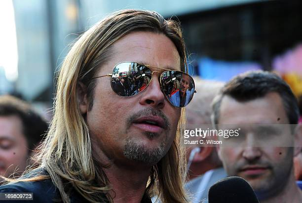 Brad Pitt attends the World Premiere of 'World War Z' at The Empire Cinema on June 2, 2013 in London, England.