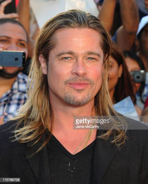 """Brad Pitt attends the """"World War Z"""" New York Premiere at Duffy Square in Times Square on June 17, 2013 in New York City."""