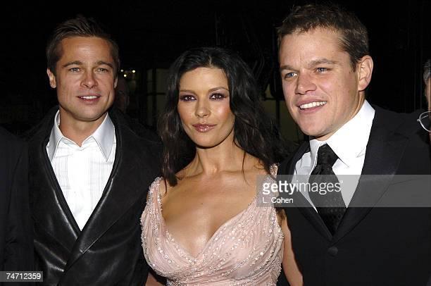 Brad Pitt Catherine ZetaJones and Matt Damon at the Grauman's Chinese Theater in Los Angeles California