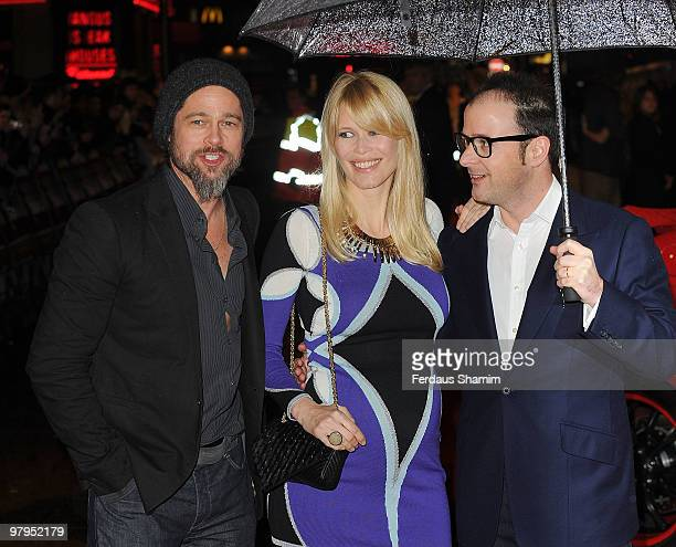 "Brad Pitt, Claudia Schiffer and Matthew Vaughn attend the UK premiere of the film ""Kick Ass"" at Empire Leicester Square on March 22, 2010 in London,..."