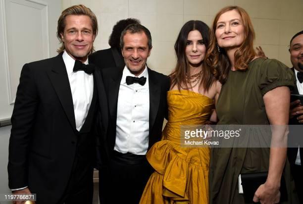 Brad Pitt David Heyman Sandra Bullock and Rose Uniacke attend the 77th Annual Golden Globe Awards at The Beverly Hilton Hotel on January 05 2020 in...