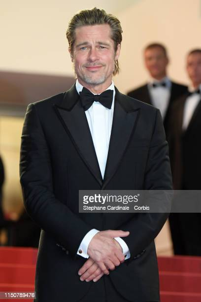 """Brad Pitt departs the screening of """"Once Upon A Time In Hollywood"""" during the 72nd annual Cannes Film Festival on May 21, 2019 in Cannes, France."""