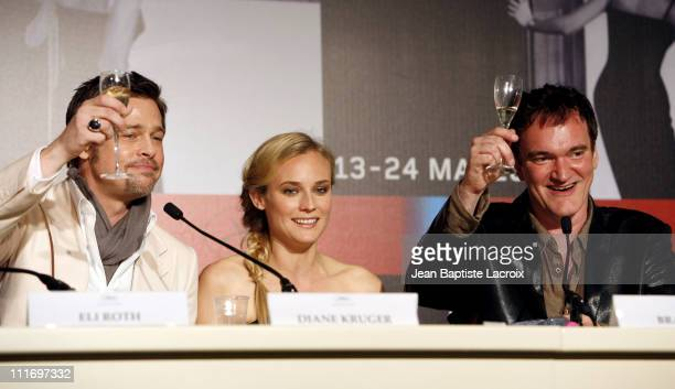 Brad Pitt Diane Kruger and director Quentin Tarantino attend the Inglourious Basterds Press Conference at the Palais des Festivals during the 62nd...