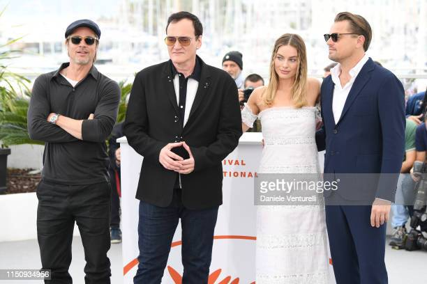 """Brad Pitt, Director Quentin Tarantino, Margot Robbie and Leonardo DiCaprio attend thephotocall for """"Once Upon A Time In Hollywood"""" during the 72nd..."""