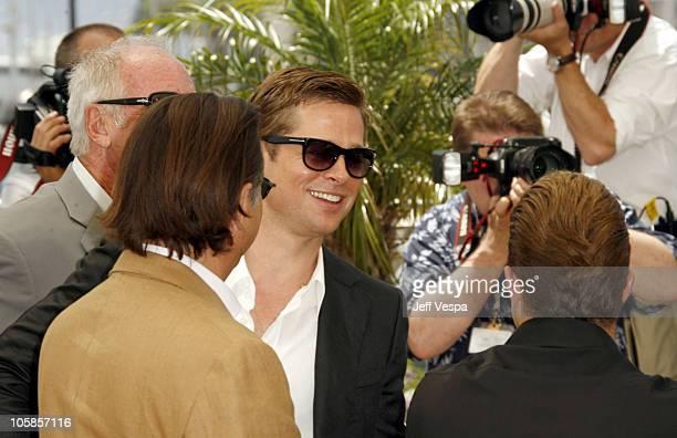 Brad Pitt during 2007 Cannes Film Festival Ocean's Thirteen Photocall at Palais des Festivals in Cannes France