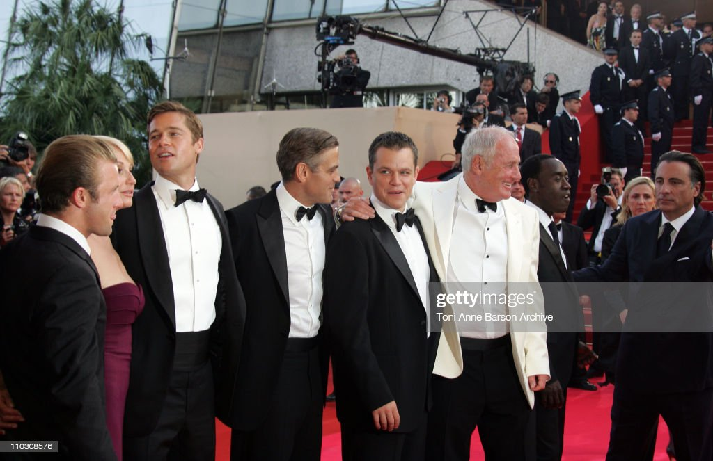 Brad Pitt, George Clooney and Matt Damon during 2007 Cannes Film Festival - 'Ocean's Thirteen' Premiere at Palais des Festivals in Cannes, France.