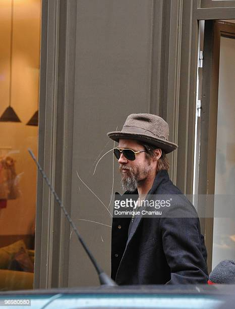 Brad Pitt is seen after he went shopping at Bonpoint shop in Paris on February 23 2010 in Paris France