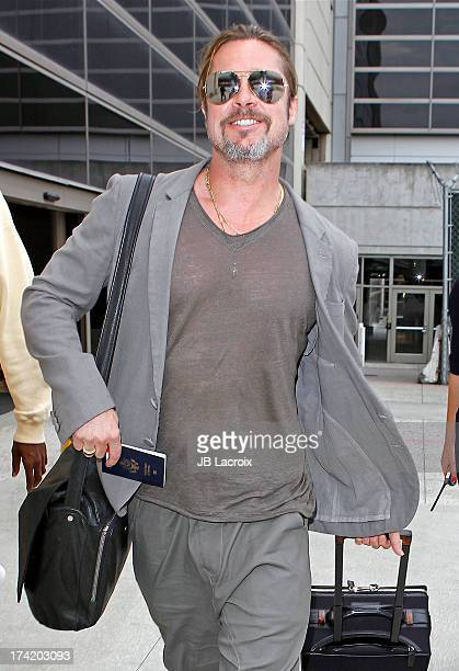 Brad Pitt is seen arriving at LAX Airport on July 21 2013 in Los Angeles California