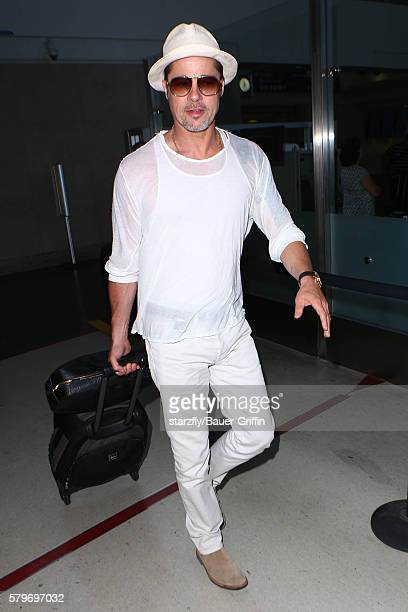 Brad Pitt is seen at LAX on July 24 2016 in Los Angeles California