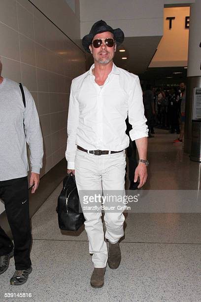 Brad Pitt is seen at LAX on June 09, 2016 in Los Angeles, California.