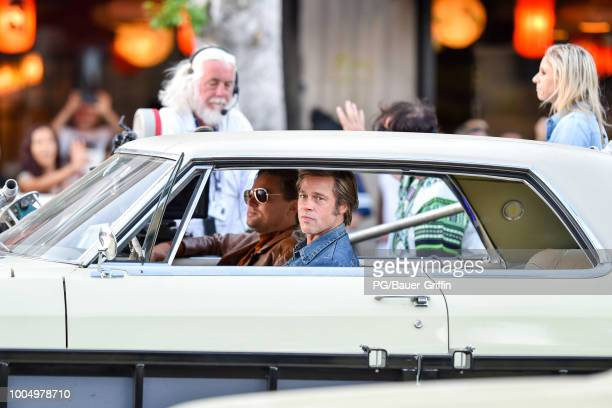 Brad Pitt is seen the set of Once Upon a Time In Hollywood on July 24 2018 in Los Angeles California