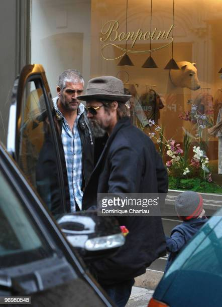 Brad Pitt is seen with daughter Shiloh JoliePitt while shopping at Bonpoint shop in Paris on February 23 2010 in Paris France