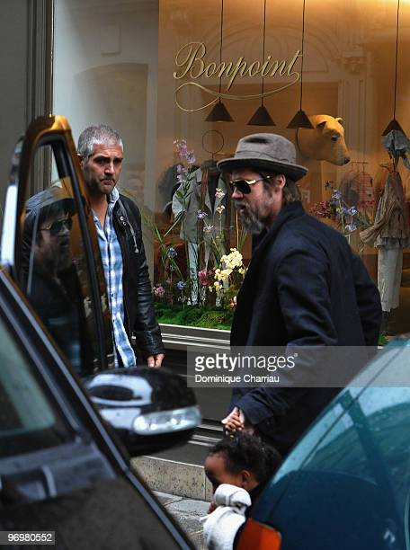Brad Pitt is seen with daughter Zahara JoliePitt while shopping at Bonpoint shop in Paris on February 23 2010 in Paris France