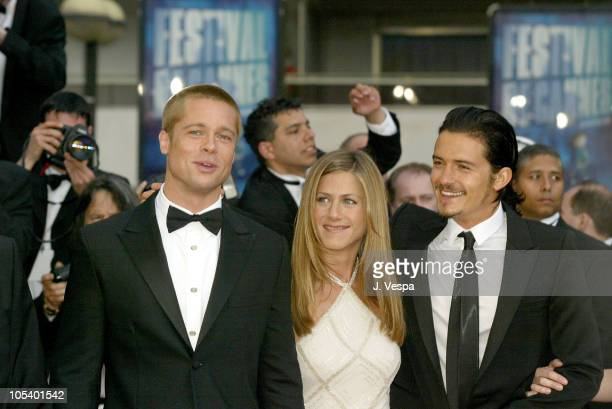 Brad Pitt Jennifer Aniston and Orlando Bloom during 2004 Cannes Film Festival 'Troy' Premiere at Palais Du Festival in Cannes France