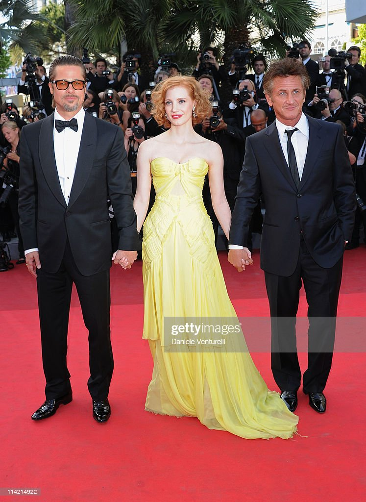 Brad Pitt, Jessica Chastain and Sean Penn attend 'The Tree Of Life' Premiere during the 64th Annual Cannes Film Festival at Palais des Festivals on May 16, 2011 in Cannes, France.