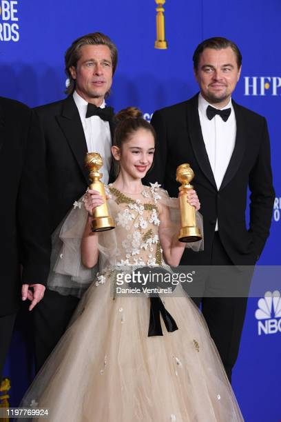 Brad Pitt Julia Butters and Leonardo DiCaprio pose in the press room during the 77th Annual Golden Globe Awards at The Beverly Hilton Hotel on...