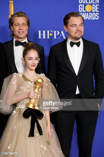 Brad Pitt Julia Butters and Leonardo DiCaprio poses in the press room with award for Best Motion Picture — Musical or Comedy during the 77th Annual...
