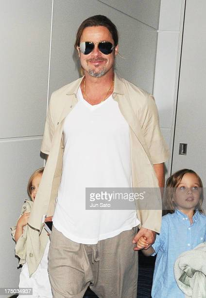 Brad Pitt Knox JoliePitt and Vivienne JoliePitt are seen on July 30 2013 in Tokyo Japan