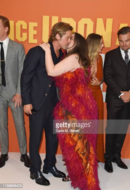 """Brad Pitt, Lena Dunham, Margot Robbie and Leonardo DiCaprio attend the UK Premiere of """"Once Upon a Time...In Hollywood"""" at the Odeon Luxe Leicester..."""