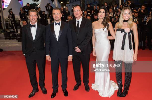 """Brad Pitt, Leonardo Di Caprio, Quentin Tarantino, Daniela Tarantino and Margot Robbie attends the screening of """"Once Upon A Time In Hollywood"""" during..."""