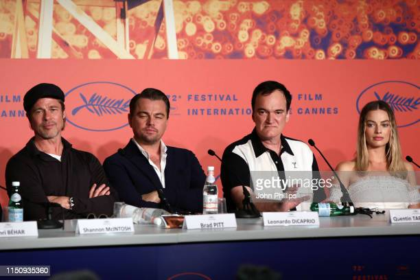 Brad Pitt Leonardo DiCaprio Director Quentin Tarantino and Margot Robbie attend the Once Upon A Time In Hollywood Press Conference during the 72nd...