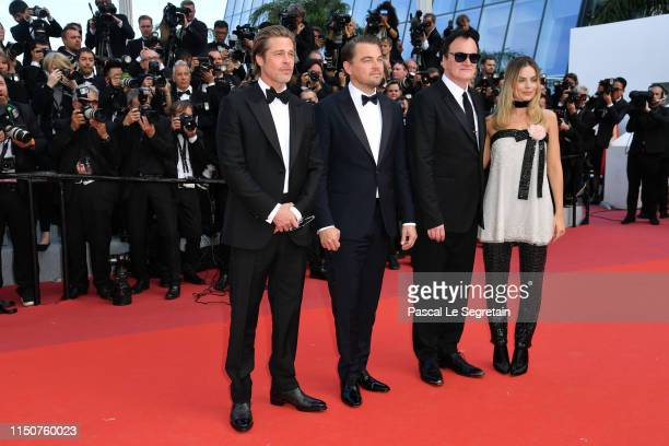 Brad Pitt Leonardo DiCaprio Quentin Tarantino and Margot Robbie attend the screening of Once Upon A Time In Hollywood during the 72nd annual Cannes...