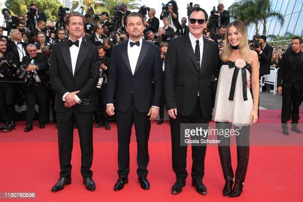"""Brad Pitt, Leonardo DiCaprio, Quentin Tarantino and Margot Robbie attend the screening of """"Once Upon A Time In Hollywood"""" during the 72nd annual..."""