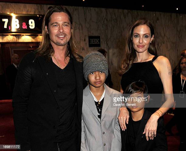 Brad Pitt Maddox JoliePitt Pax JoliePitt and Angelina Jolie attend the World Premiere of 'World War Z' at The Empire Cinema Leicester Square on June...
