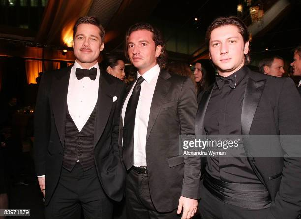 Brad Pitt Manuele Malenotti and Michele Malenotti attend Belstaff's The Curious Case Of Benjamin Button Premiere After Party on December 8 2008 in...