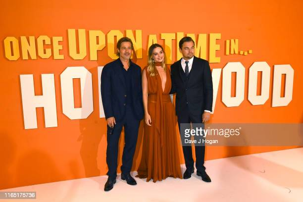 Brad Pitt Margot Robbie and Leonardo DiCaprio attend the Once Upon a Time in Hollywood UK Premiere at Odeon Luxe Leicester Square on July 30 2019 in...