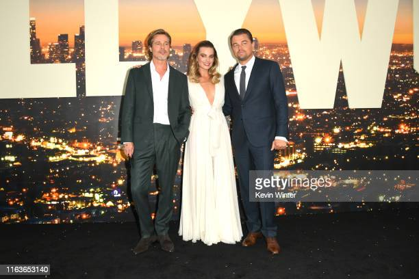 Brad Pitt Margot Robbie and Leonardo DiCaprio attend the Sony Pictures' Once Upon A TimeIn Hollywood Los Angeles Premiere on July 22 2019 in...