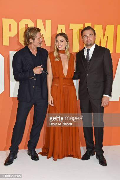 Brad Pitt Margot Robbie and Leonardo DiCaprio attend the UK Premiere of Once Upon a TimeIn Hollywood at the Odeon Luxe Leicester Square on July 30...