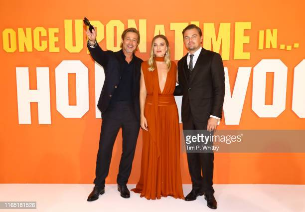 Brad Pitt Margot Robbie and Leonardo DiCaprio attend the UK Premiere of Once Upon A TimeIn Hollywood at Odeon Luxe Leicester Square on July 30 2019...