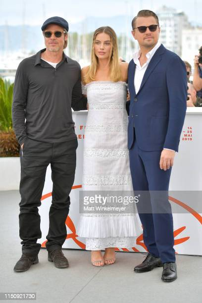 Brad Pitt Margot Robbie and Leonardo DiCaprio attend thephotocall for Once Upon A Time In Hollywood during the 72nd annual Cannes Film Festival on...