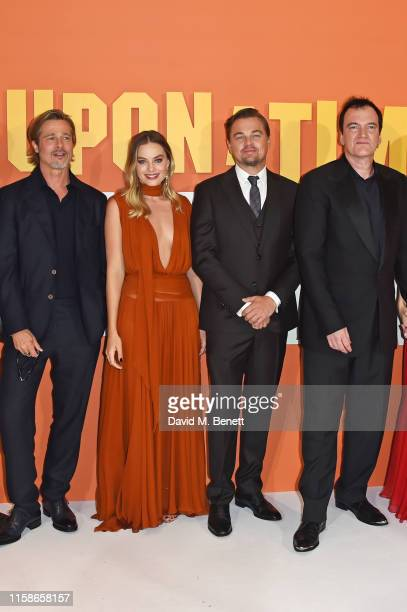 Brad Pitt Margot Robbie Leonardo DiCaprio and Quentin Tarantino attend the UK Premiere of Once Upon a TimeIn Hollywood at the Odeon Luxe Leicester...