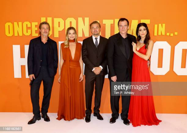 Brad Pitt Margot Robbie Leonardo DiCaprio Quentin Tarantino and Daniela Tarantino attend the UK Premiere of Once Upon A TimeIn Hollywood at Odeon...