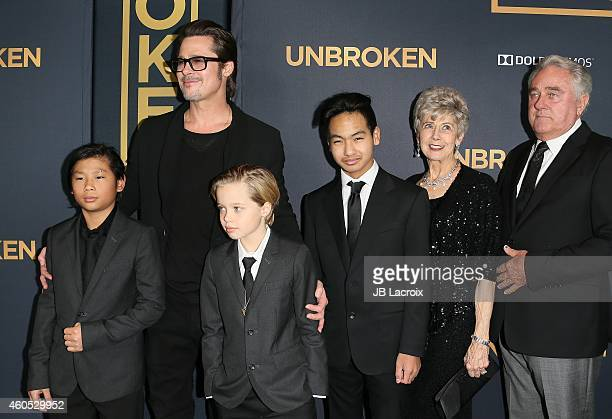 Brad Pitt Pax Thien JoliePitt Shiloh Nouvel JoliePitt Maddox JoliePitt Jane Pitt and William Pitt attend the Unbroken Los Angeles premiere held at...