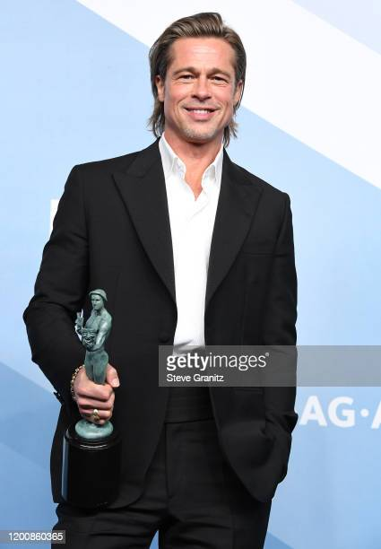Brad Pitt poses at the 26th Annual Screen Actors Guild Awards at The Shrine Auditorium on January 19 2020 in Los Angeles California