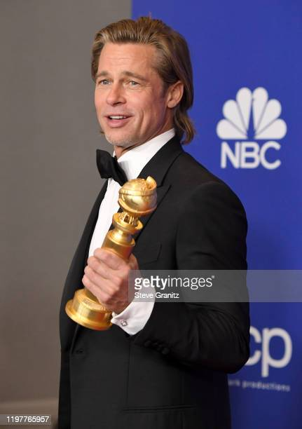 Brad Pitt poses in the press room during the 77th Annual Golden Globe Awards at The Beverly Hilton Hotel on January 05 2020 in Beverly Hills...