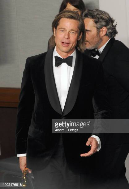 Brad Pitt poses with his Award for Best Supporting Actor inside The Press Room of the 92nd Annual Academy Awards held at Hollywood and Highland on...