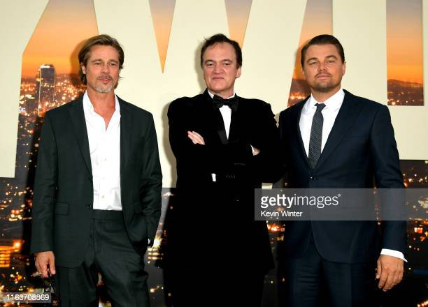 "Brad Pitt, Quentin Tarantino and Leonardo DiCaprio arrive at the premiere of Sony Pictures' ""One Upon A Time...In Hollywood"" at the Chinese Theatre..."